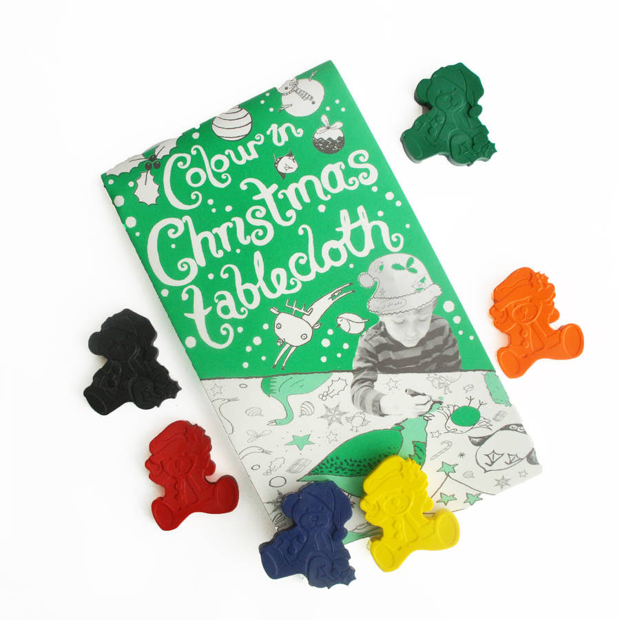 colour in christmas tablecloth and crayon set by colour me ...