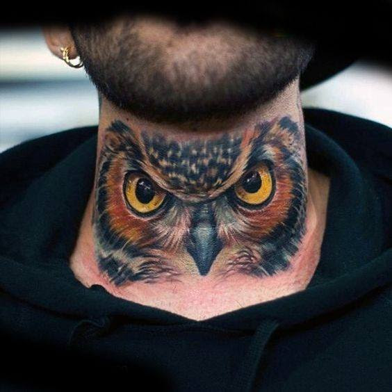 30 Owl Neck Tattoo Designs For Men - Bird Ink Ideas