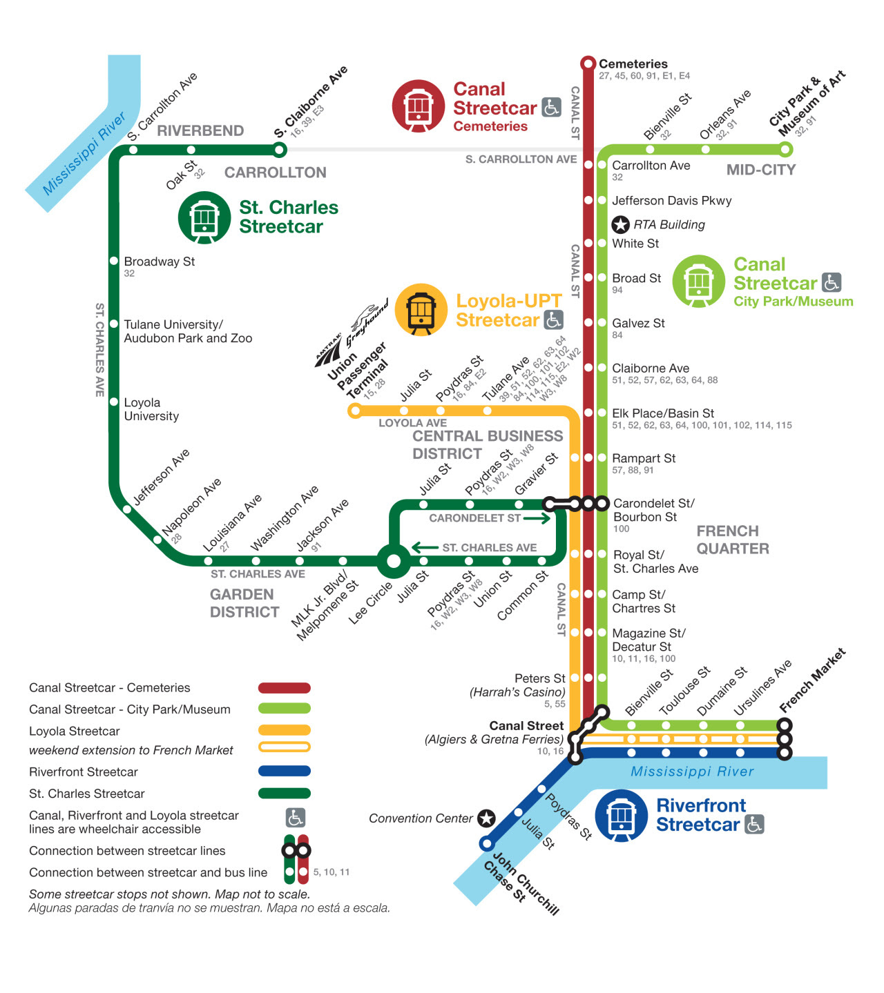 Official Map Streetcar Network New Orleans Transit
