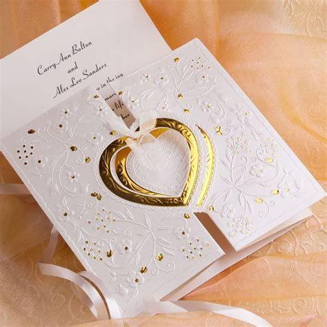 Romantic Gold And White Heart Folded Wedding Invitations