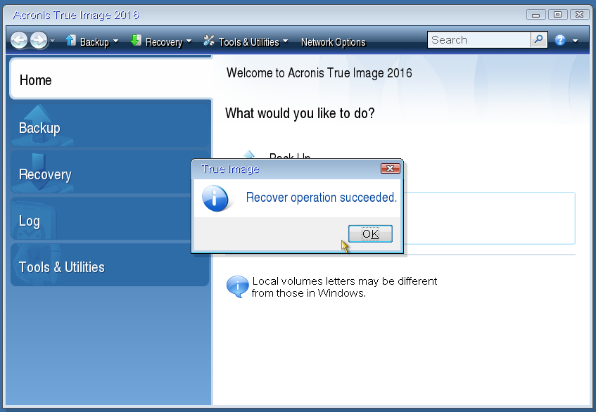 Acronis True Image 2016 Restoring To A Drive With A Single