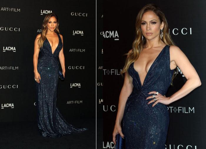 Блестящее темно-синее платье с очень глубоким декольте от Гуччи для вечера LACMA Art + Film Gala в 2014 году.