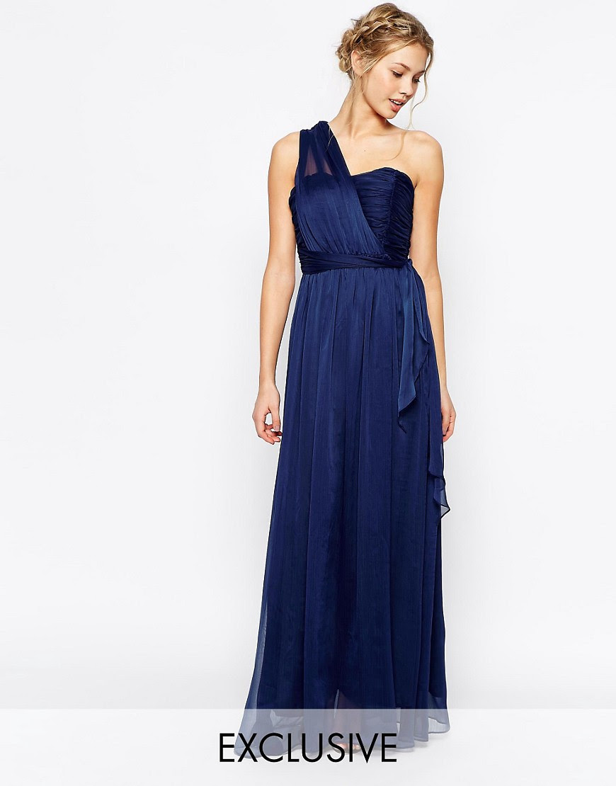Image 1 of True Decadence Wrap One Shoulder Maxi Prom Dress