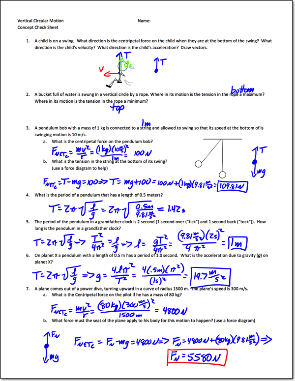 Circular Motion Worksheet With Answers - Nidecmege