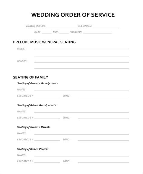 Wedding Outline Template   6  Free Word, PDF Document
