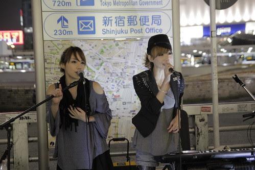 Mai and Mami of Red Pepper Girls performing at Shinjuku 2