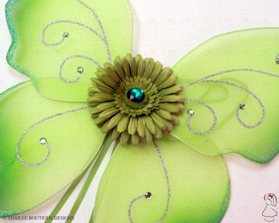 Green Fairy Wings Match Your Tutu Embellished With Ribbons and Flower  GFW100 ON SALE