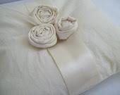 rose trio... natural cotton ring pillow