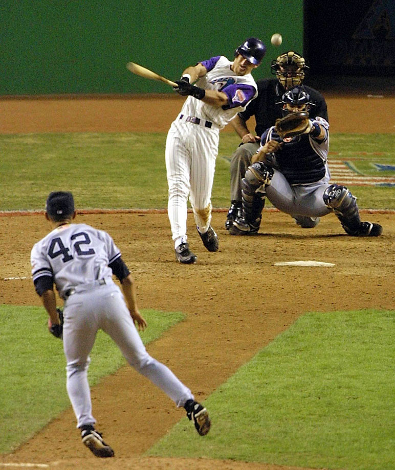 The best postseason closer in baseball was holding a 2-1 lead going into the bottom of the ninth. Nevermind what the dandy D-Back duo of Curt Schilling and Randy Johnson had done earlier. The Yanks looked like a lock. But Mariano Rivera got himself in trouble, and Luis Gonzalez won the game 3-2 with a bases-loaded bloop single over a drawn-in shortstop Derek Jeter. Johnson got the win in relief.