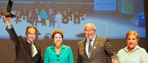Dilma Rousseff durante abertura do 86° Encontro Nacional da Indústria da Construção, em Goiânia  (Foto: Roberto Stuckert Filho/PR)