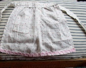SWEET DOLL APRON...VINTAGE, POLKA DOTS, RICK-RACK, TINY POCKET, HOMEMADE - JunqueInTheTrunque