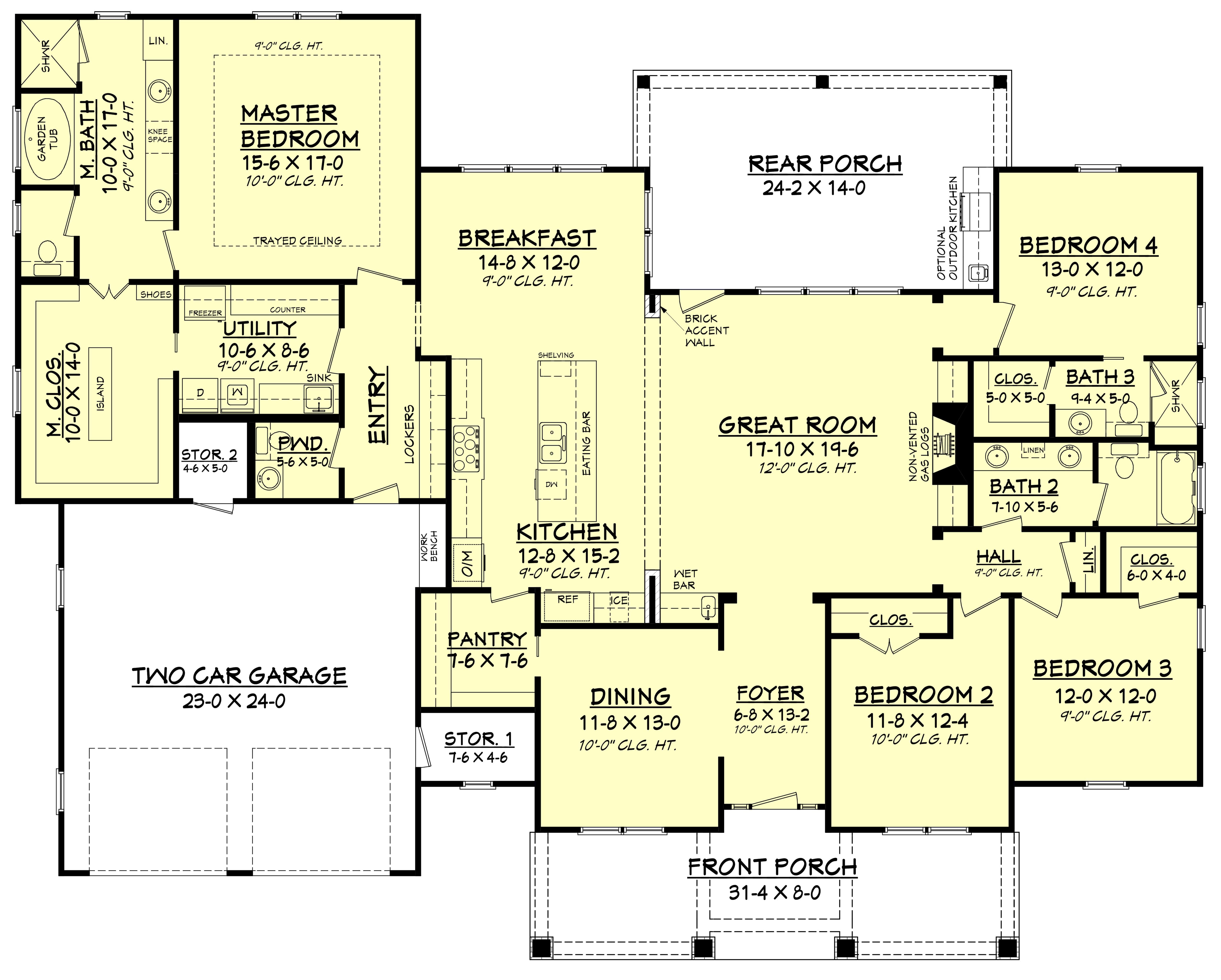 4 Bedrm 2759 Sq Ft Country House  Plan  142 1181