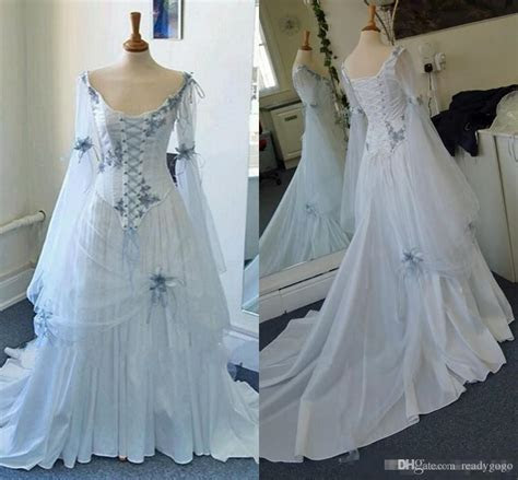 Discount Vintage Celtic Gothic Corset Wedding Dresses With