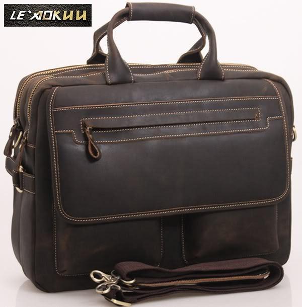 Hot Men Leather Antique Designer Business Briefcase Laptop Document Case Commercia Portfolio Attache Shoulder Messenger Bag 2951-d