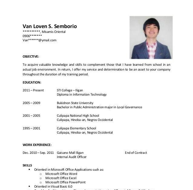 Sample Resume For Ojt Download