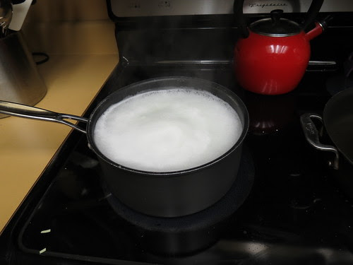 bubbling on a dirty stove