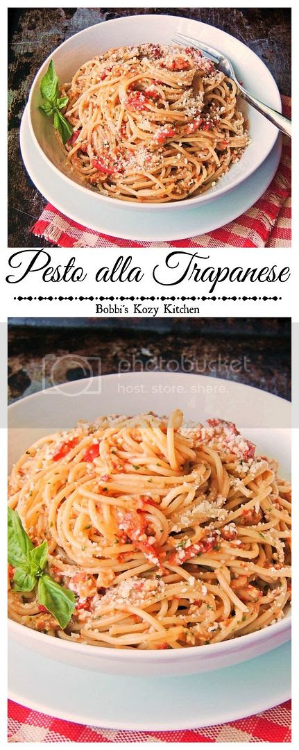 Pesto alla Trapanese - With ripe grape tomatoes that are bursting with flavor, fresh basil, and ground almonds to add body to the sauce, this is the ultimate fresh tasting pasta!