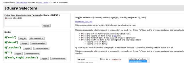 jQuery Selectors Cheatsheet (HTML)