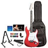 Fender Starcaster Red Electric Guitar with Stand, Strap, Strings, Gig Bag, DVD, Tuner and Pick Sampler