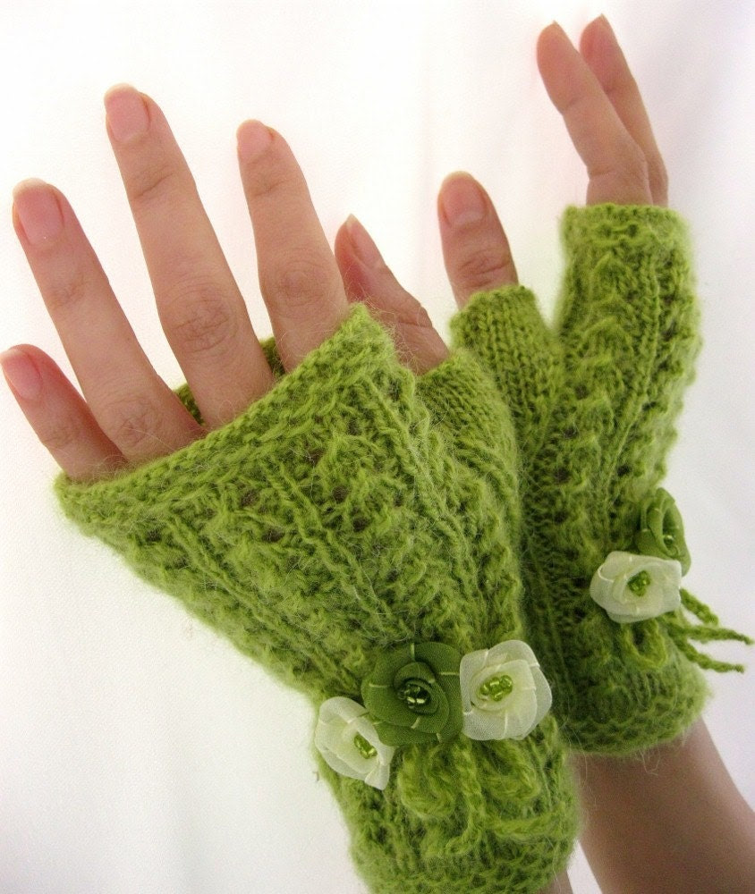A SENSE OF SPRING...  Lime Green Fingerless gloves with  flowers