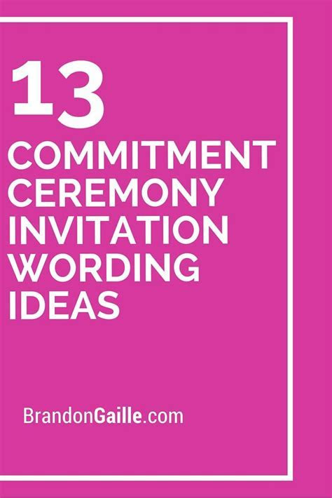13 Commitment Ceremony Invitation Wording Ideas   Messages