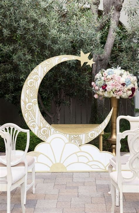 Picture Of 1920s inspired gold patterned crescent moon