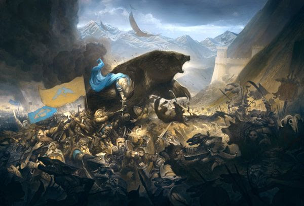 An illustration depicting a bloody conflict that will take place after Smaug's demise in THE HOBBIT: THE BATTLE OF THE FIVE ARMIES.