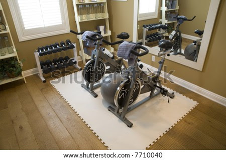 Luxury Home Fitness Room With Bicycles. Stock Photo 7710040 ...