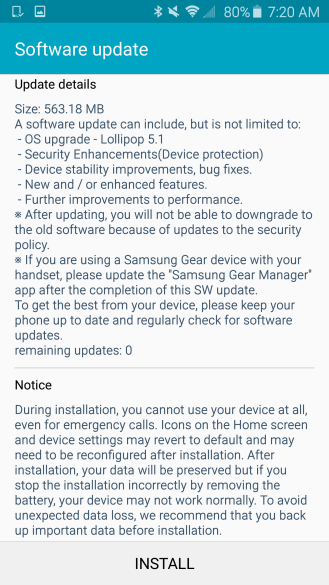 Sprint Galaxy S6 android 5.1.1