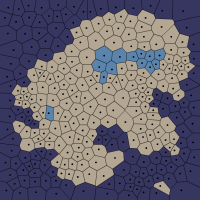 Polygon map divided into land, ocean, and lake