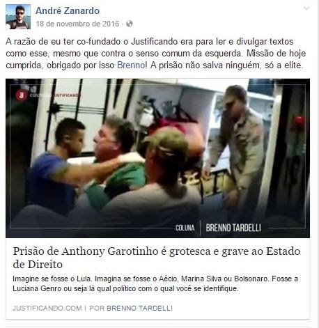 André Zanardo - Justificando e Carta Capital - Facebook