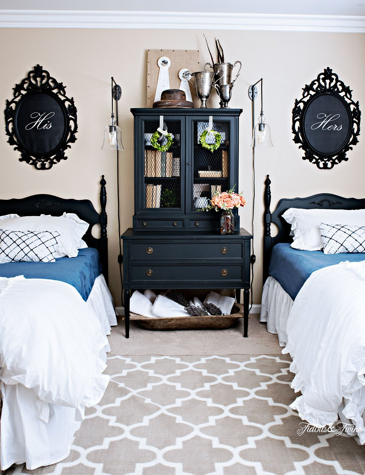 Tidbits&Twine Twin Bed Guest Bedroom Makeover with Black Beds