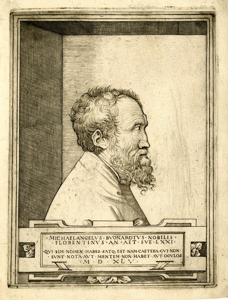 Portrait of Michelangelo in profile facing right set within a recess after Enea Vico Engraving