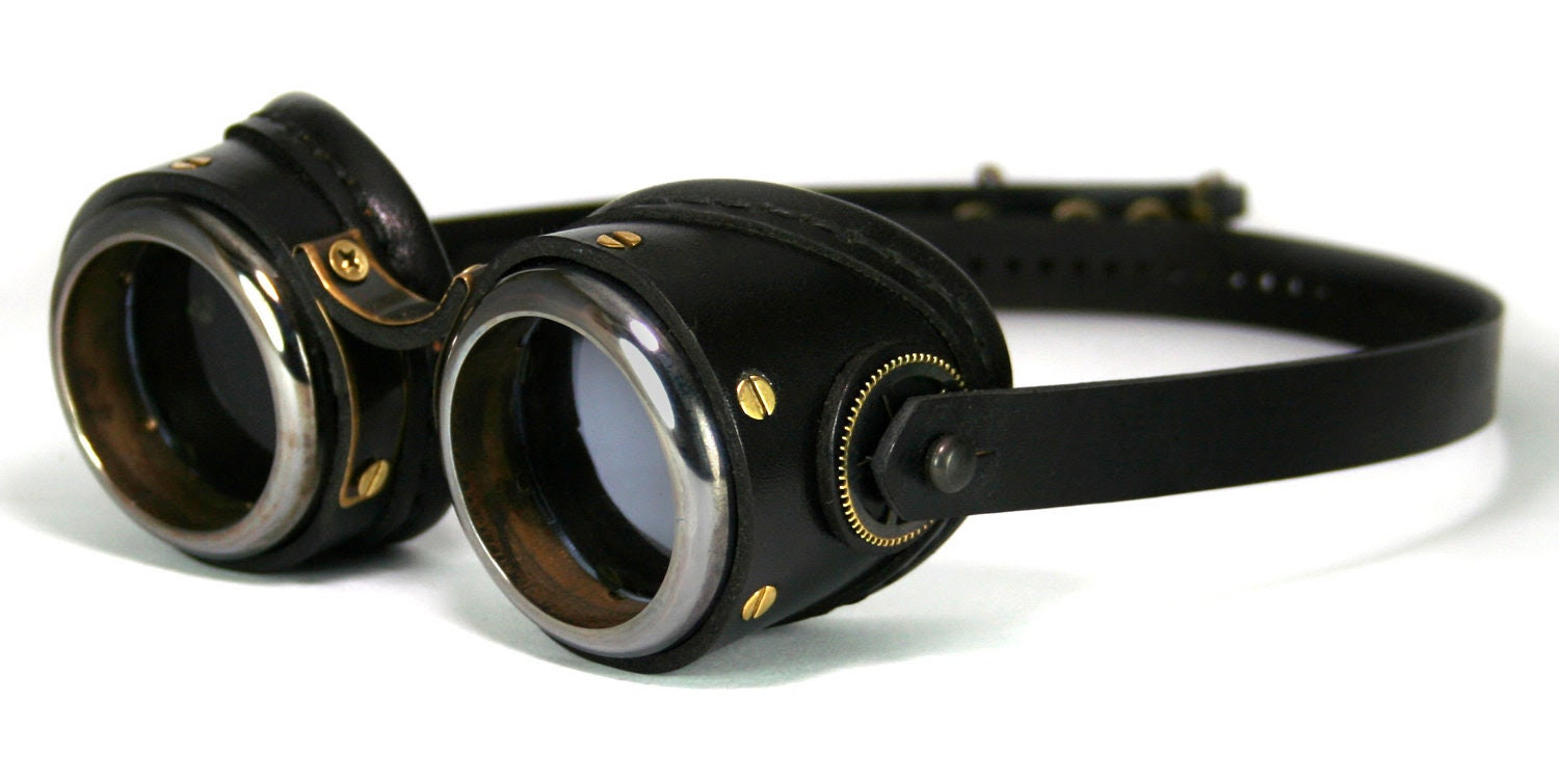 STEAMPUNK GOGGLES black leather blackened brass SMPL Solid Frames