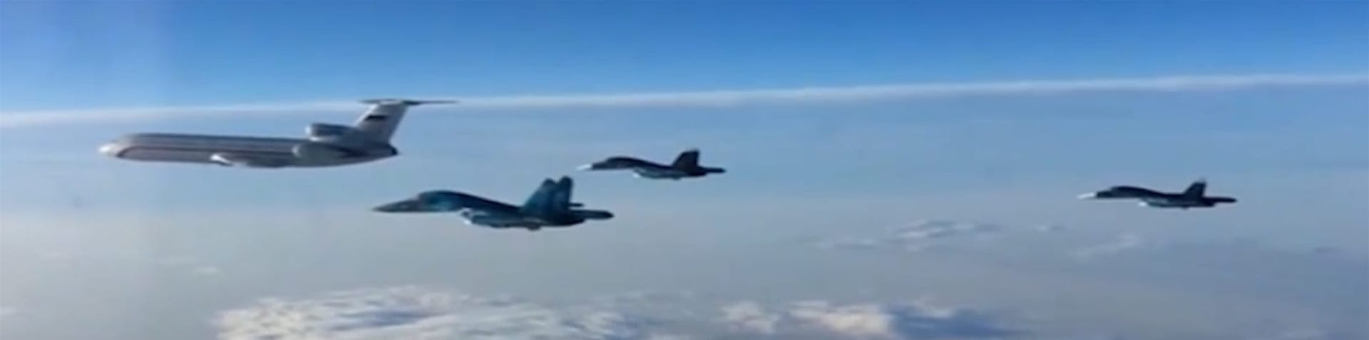 A handout frame grab taken from a video footage made available 15 March 2016 by the Russian Defence Ministry shows Russian TU-154 plane which transports engineering and technical personnel in the head of a group of Russian SU-34 multidimensional bombers in flight from the Syrian Hmeymim airbase outside Latakia to Russia.   EPA/RUSSIAN DEFENCE MINISTRY / HANDOUT  [EPA]