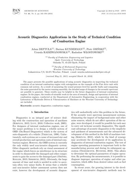 (PDF) Acoustic Diagnostics Applications in the Study of