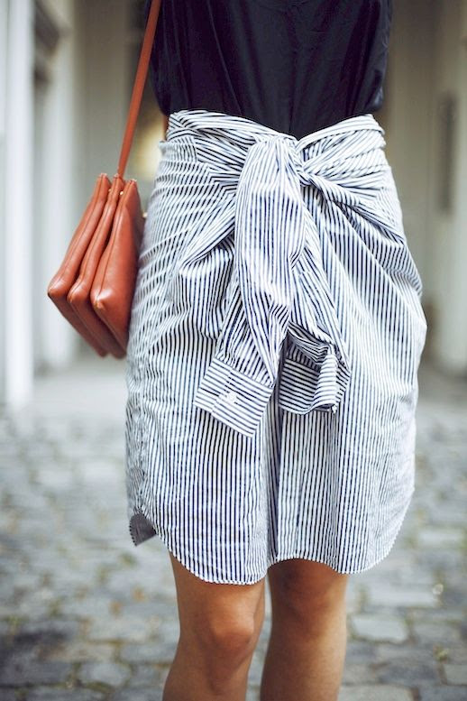 Le Fashion Blog Blogger Style Black Tank Tucked Into Tie Front Striped Button Down Skirt Brown Leather Shoulder Bag Via This Is Jayne Wayne
