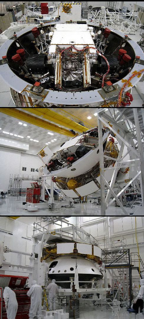 In these three photos, MSL and its descent stage are placed inside the back shell and cruise stage that will take the rover to Mars after launch in October, 2009.