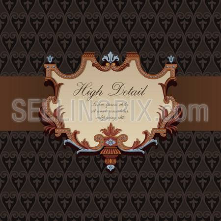 Gift Card Design In Vintage Style Floral Pattern Retro Background