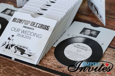 White Vintage Vinyl Record Themed Wedding Invitations