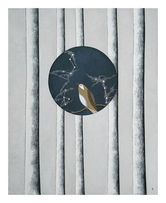 RESERVED for rednettlepress // original canvas painting // fine art // constellation bird by natasha newton