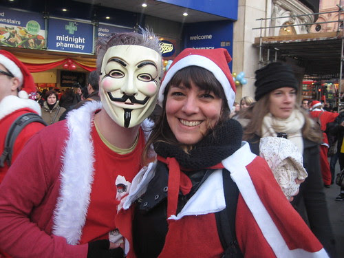 Anonymous & @Jemimah_knight - Santacon 2011 - Piccadilly Circus