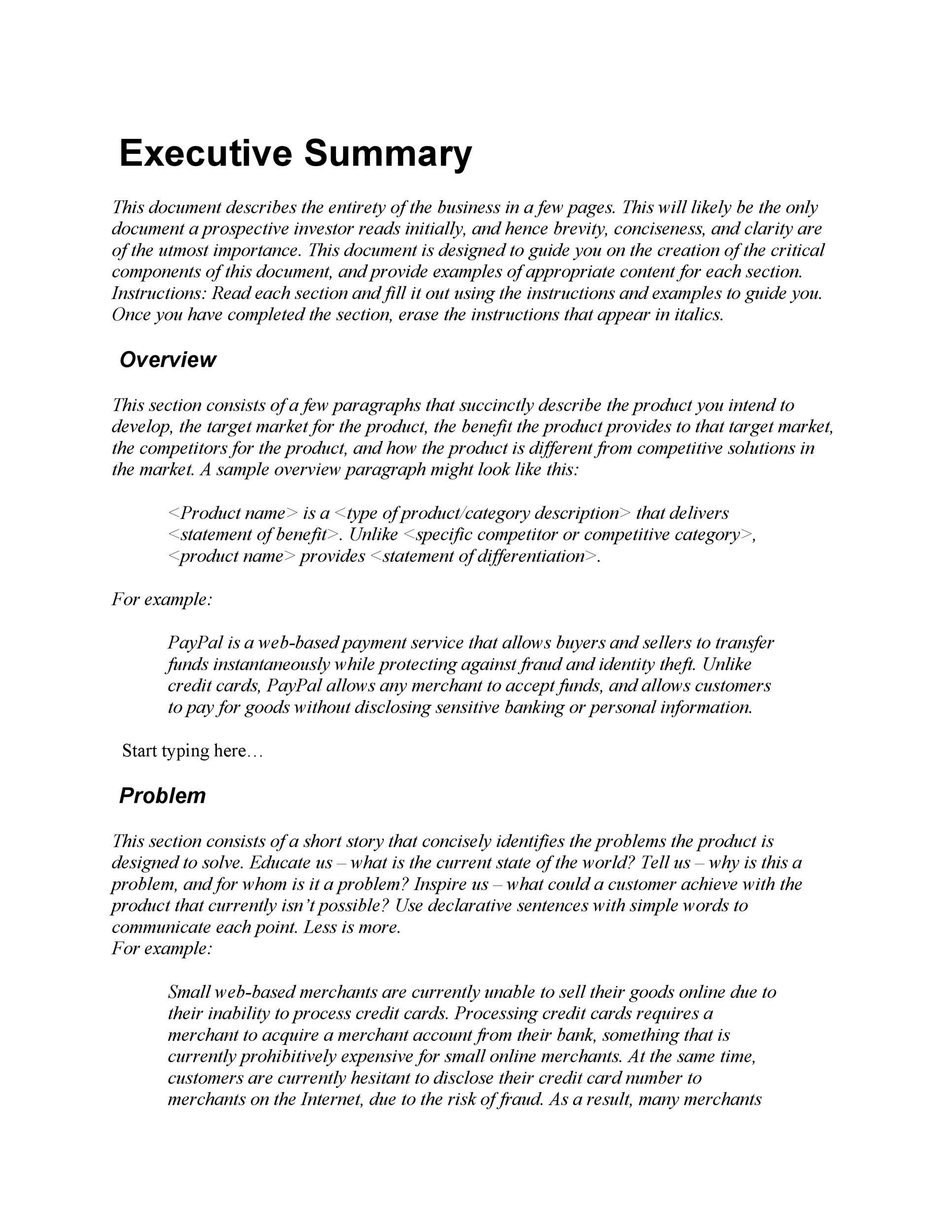 executive summary contoh download