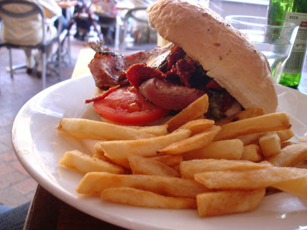 """My Cafe (Canberra) - Chicken, bacon and sundried tomatoes """"focaccia"""""""