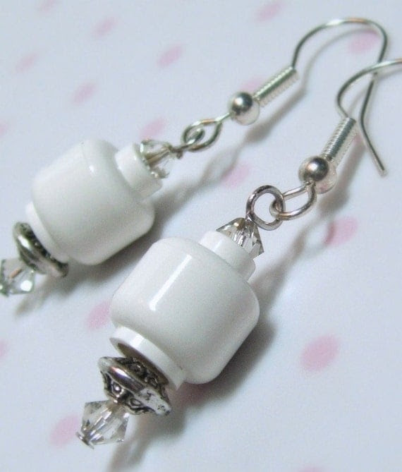 Lego White Blank Head Dangly Earrings with Sparkling Swarovski Crystals - Limited Edition