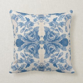 Elegant blue vintage floral throw pillow