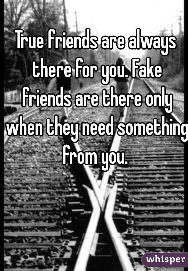True Friends Are Always There For You Fake Friends Are There Only