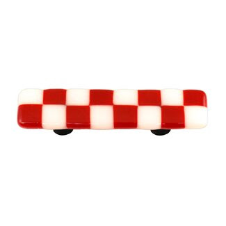 Hot Knobs Lil' Squares Cabinet Pull in Brick Red / White - HK7000-PA / HK7000-PB