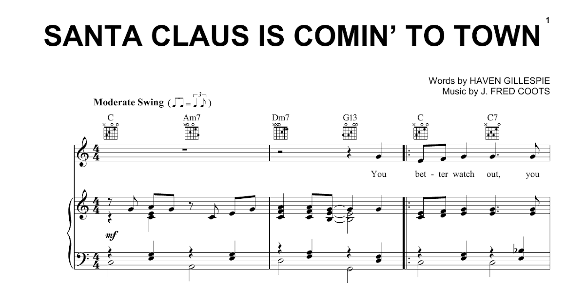Santa Claus Is Comin To Town Ukulele Chords Easy