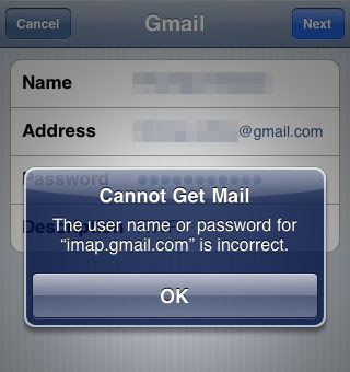 How to fix incorrect username/password error for gmail on Apple mail ?